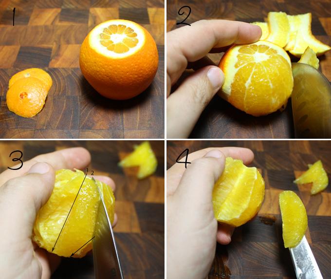 オレンジとグレープフルーツの房取りの仕方