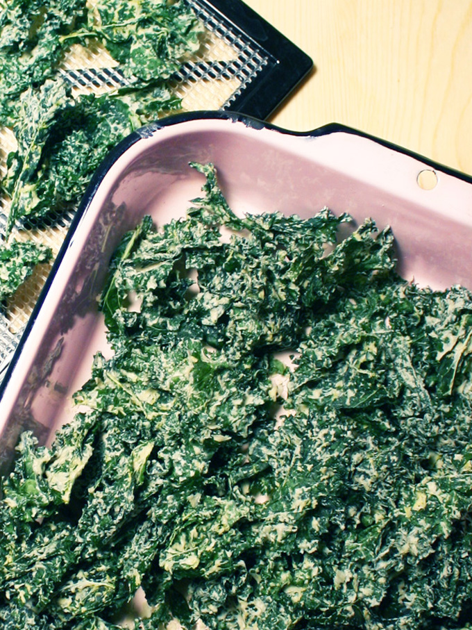 sour cream and onion kale chips