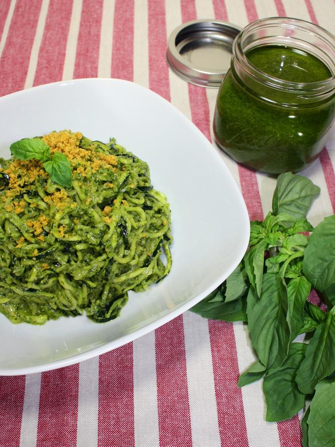 raw vegan basil pesto zucchini pasta