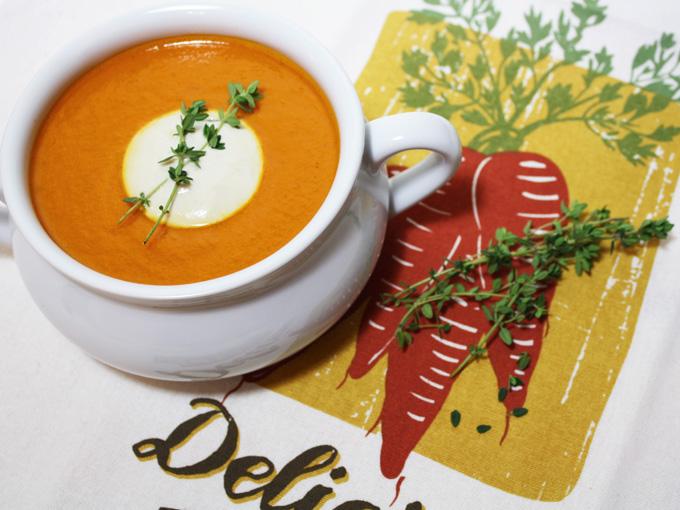 raw vegan carrot thyme soup