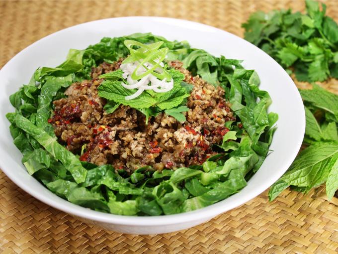 raw vegan Thai larb inspired salad