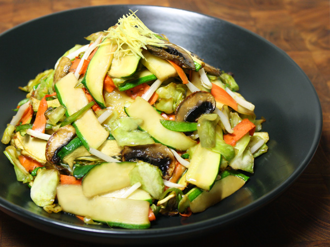 raw vegan soy ginger stir fry