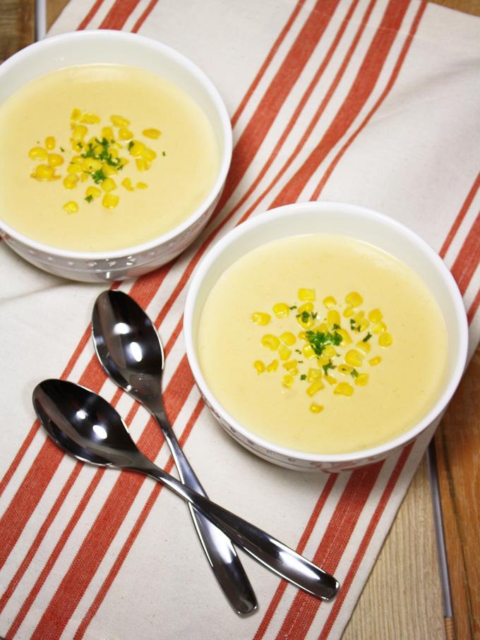 raw vegan Japanese corn potage soup