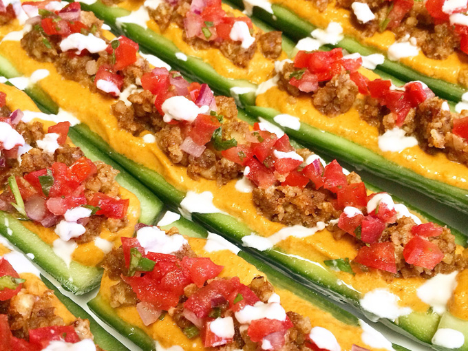 raw vegan taco cucumber boats