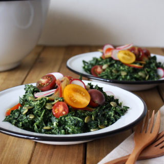 simple raw vegan avocado kale salad