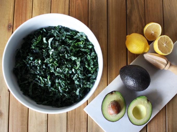 simple raw vegan avocado kale salad