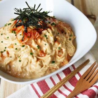raw vegan creamy kimchi zucchini pasta