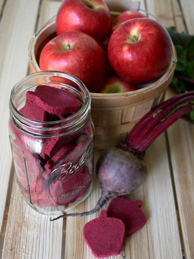 raw vegan apple beet almond butter dog treats