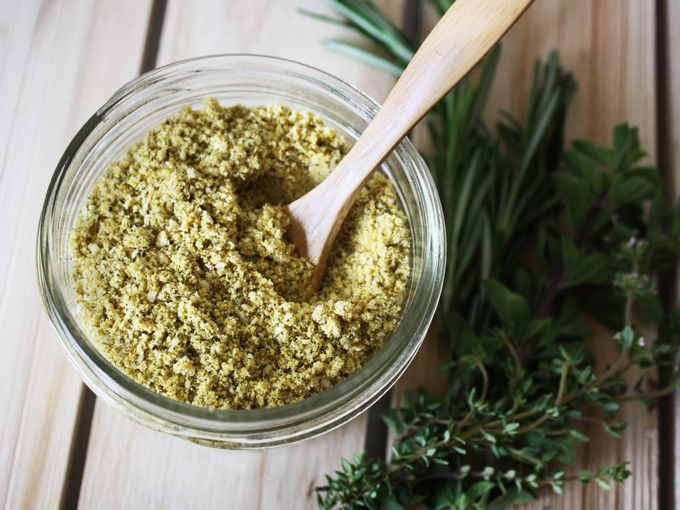 raw vegan herbed parmesan cheese