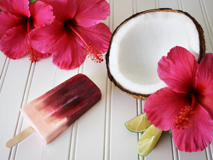 raw vegan agua de jamaica (hibiscus tea) popsicles