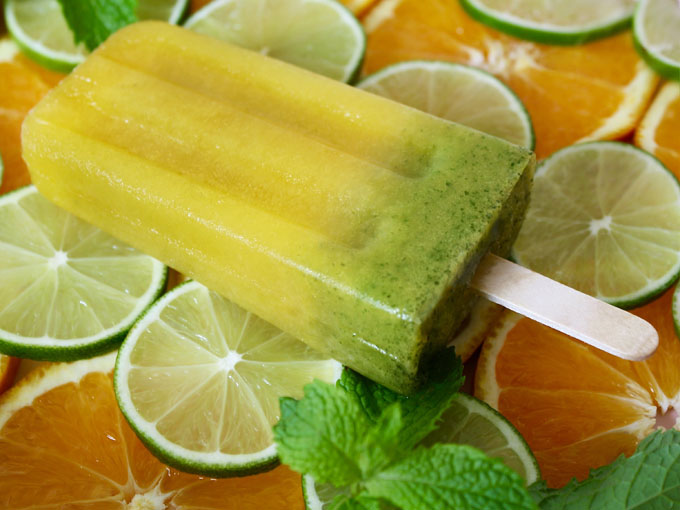raw vegan virgin orange mojito popsicle
