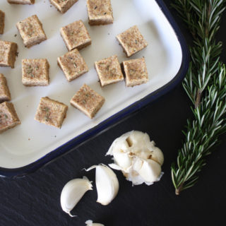 raw vegan garlic rosemary croutons